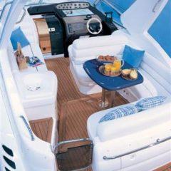 Sealine S34 motor boat charter Ibiza Formentera comfortable cockpit