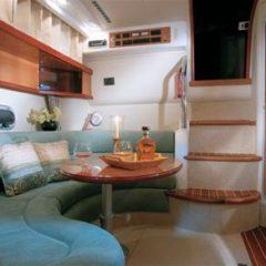 Sealine S34 motor boat charter Ibiza Formentera saloon view