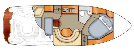 Sealine S34 motor boat charter Ibiza Formentera 2 cabins layout
